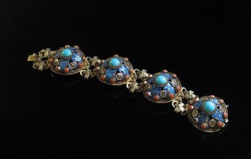 01-vintage Chinese silver vermeil  enameled bracelet
