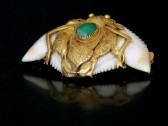 07-01-27 Unusual Gold, Ivory and Jadeite Brooch