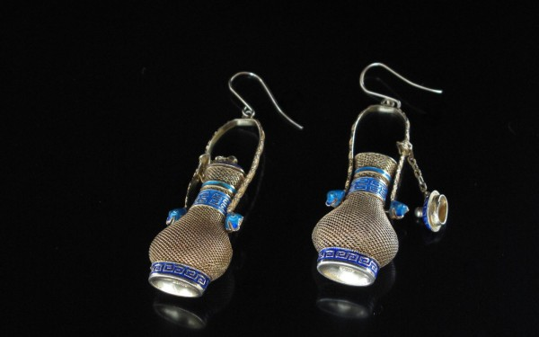 10-10-12 Chinese Silver Pomander Earrings