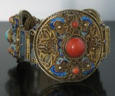 12-10-29 Antique Chinese Coral Turquoise Silver Bracelet-Posted