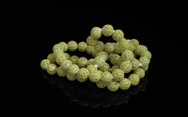 13-04-15 Chinese Imperial Yellow Porcelain Beads